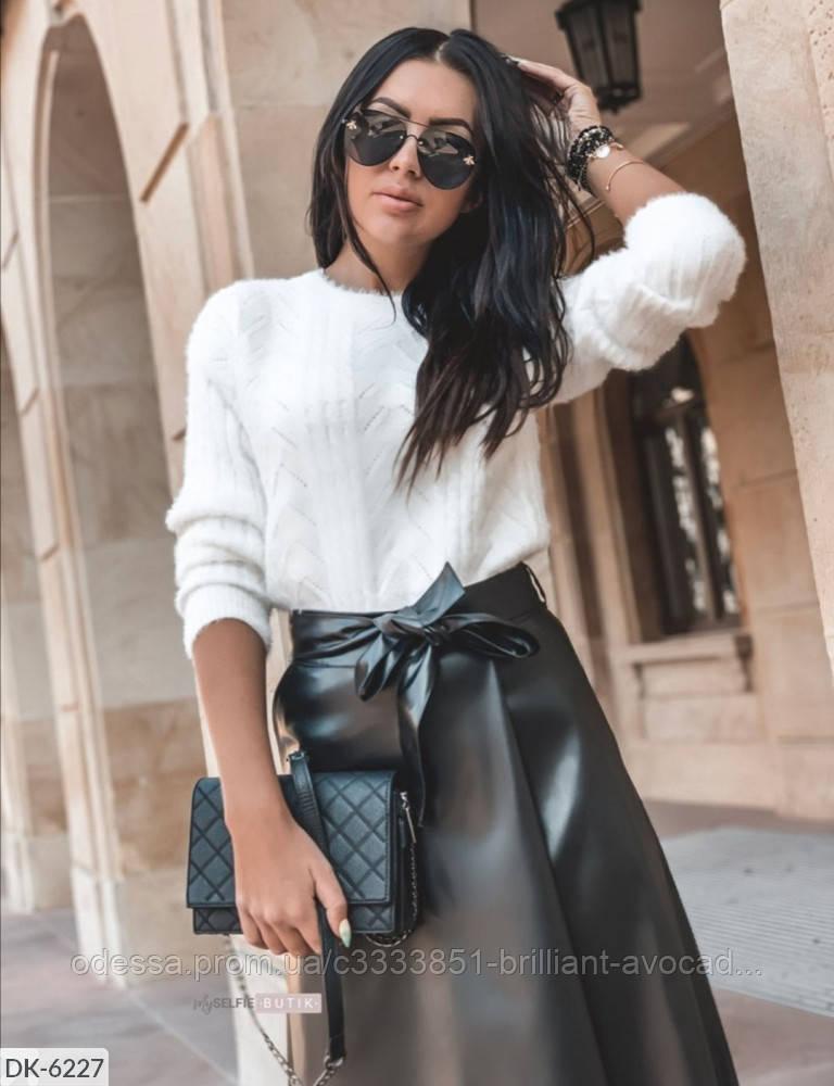 Женская модная кожаная юбка с высокой талией длины миди