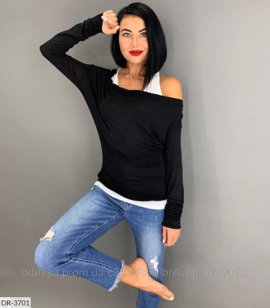 Женская модная кофта 2в1 (майка и кофта со спущенными плечами