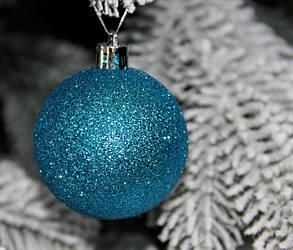 Новорічна куля блакитна D8см (80мм) мікс