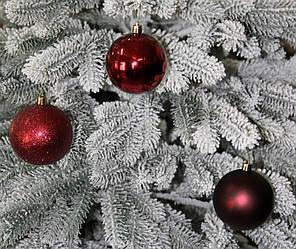 Куля новорічна темно-червона мікс D 8см (80мм)