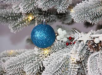 Новорічна куля блакитна мікс D6см (60мм)