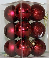 Куля новорічна темно-червона мікс D 3см (30мм)