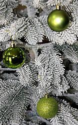 Куля новорічна зелена мікс D 6 см (60мм)