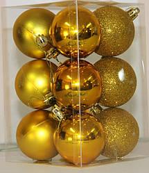Куля новорічна золотиста мікс D 6 см (60мм)