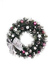 Вінок новорічний розовий д40см