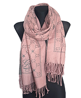 Теплый шарф Шелби 180*60 см пудра/серый