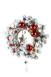 Вінок штучний літій Засніжений червоній Д 45см