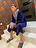 Чоловічий довгий махровий халат синього кольору хіт продажів 2020, фото 4
