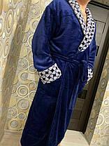 Чоловічий довгий махровий халат синього кольору хіт продажів 2020, фото 3