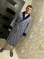 Красивый теплый мужской длинный махровый халат с узороом, фото 2