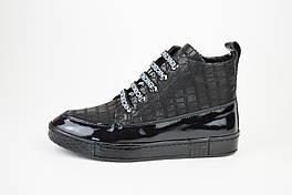 Ботинки из лакированной кожи на платформе черные Phany 4728