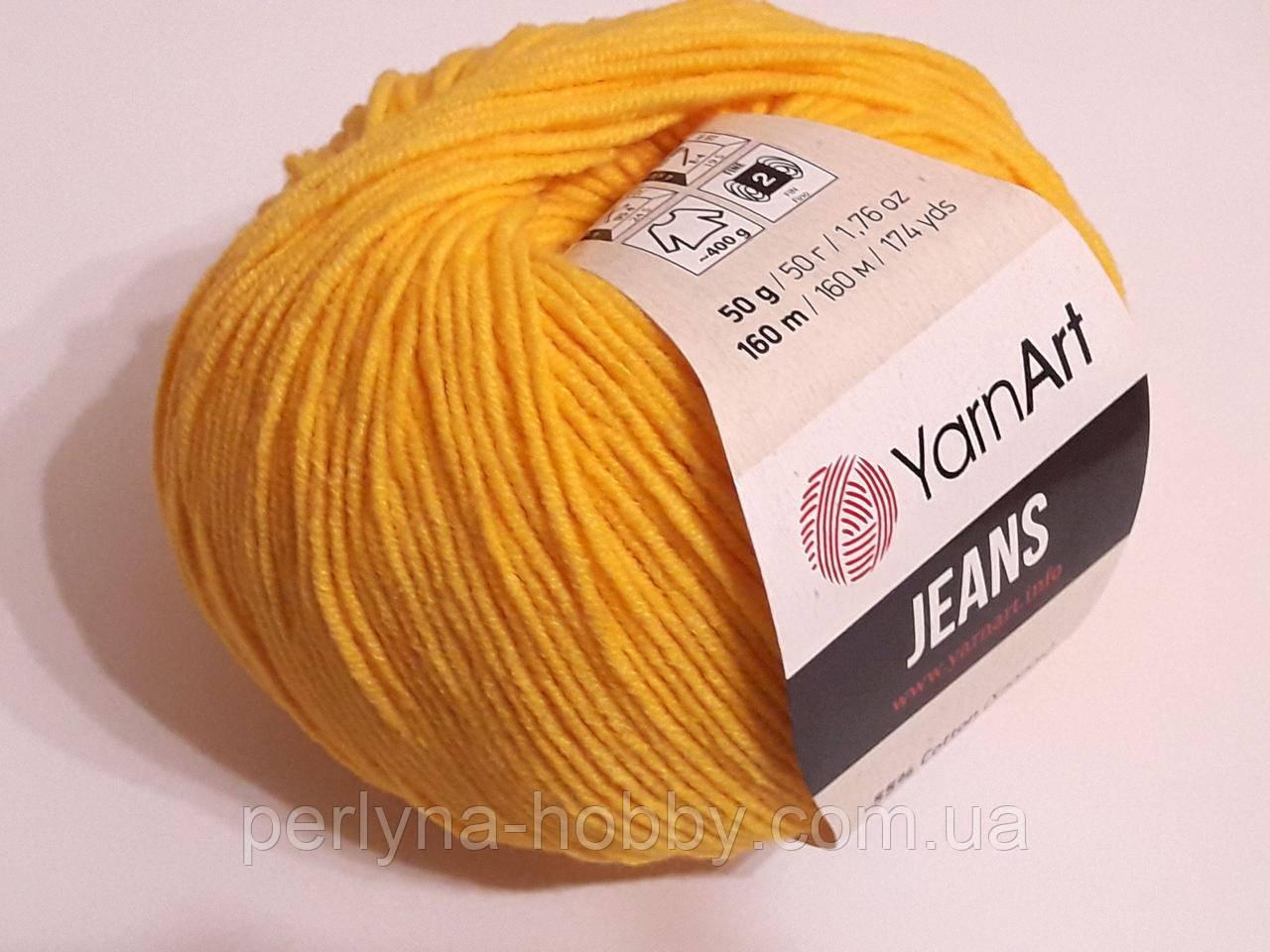 Пряжа YarnArt  Jeans Ярнарт Джинс нитки для вязания 50 гр, 160 м,  хлопок / акрил. Жовта гаряча 035