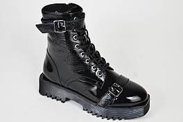 Ботинки лаковые демисезонные Phany 5346 черные байка