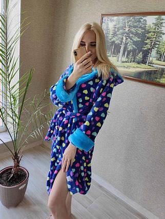 Женский теплый махровый халат с сердцами, фото 2