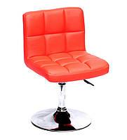Красное кресло из эко-кожи на круглом хромированном основании для салонов, мастеров, клиентов Arno CH - Base