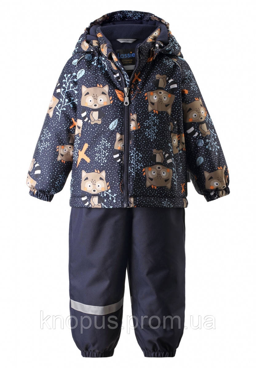 Зимний  детский  комбинезон, синий, Енотики,   Lassie by Reima, размеры 80, 86