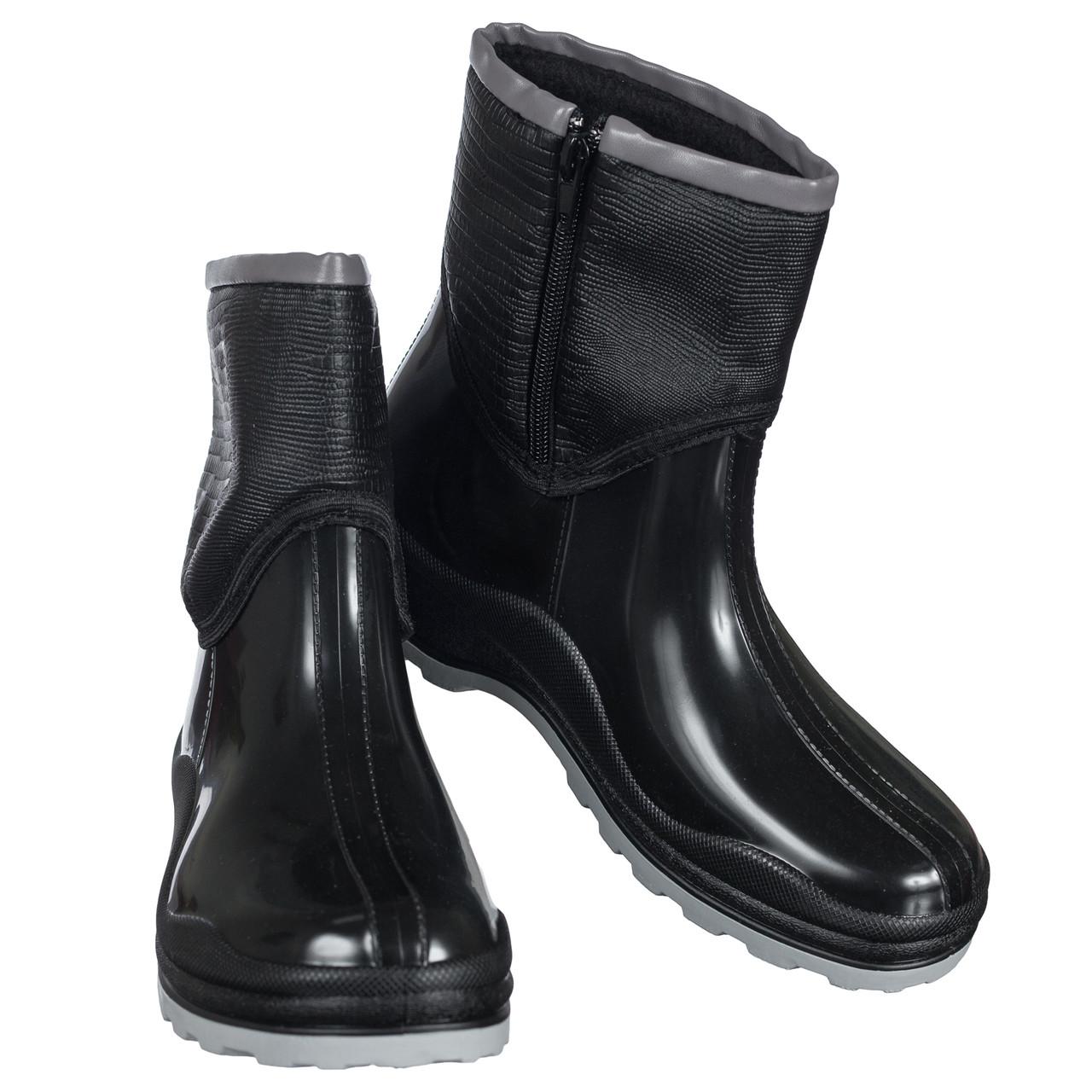 Ботинки полусапожки резиновые непромокаемые утепленные флисом по всей длине черные женские b-432