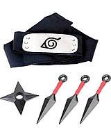 Набор Аксессуаров Наруто 3в1: кунаи, налобный протектор, звезда-сюрикен - Naruto Set