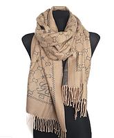 Теплый шарф Шелби 180*60 см бежевый/серый