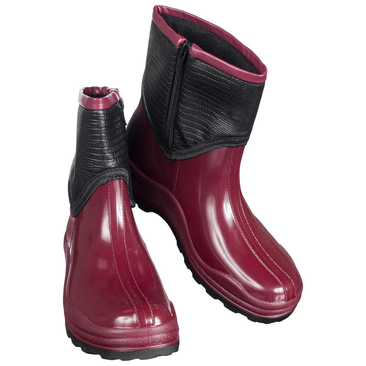 Ботинки полусапожки резиновые непромокаемые утепленные флисом по всей длине бордовые 37 размер b-433