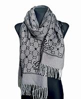 Теплый шарф Шелби 180*60 см серый/графит
