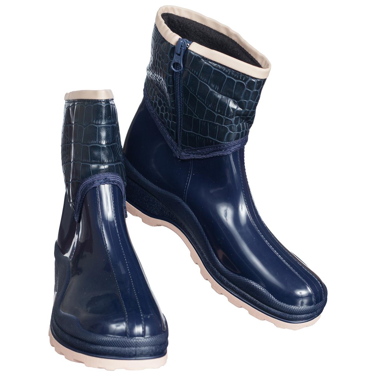 Резиновые ботинки полусапожки непромокаемые утепленные флисом по всей длине синие женские 37р b-434