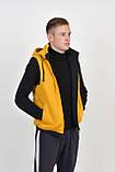 Мужской двухсторонний теплый жилет с капюшоном в черно/желтом цвете, фото 3
