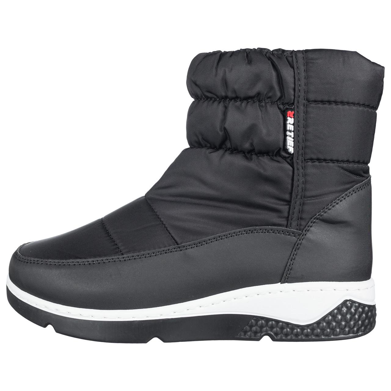 Дутики ботинки женские черные на меху b-429