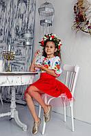 Плаття для дівчинки Лісова пісня червоно-біле пишне
