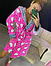 Женский плюшевый розовый домашний халат с хелло китти, фото 4