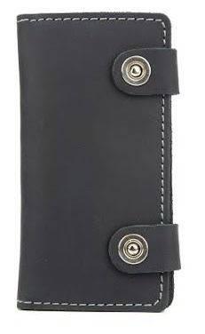 Прочное кожаное мужское портмоне на кнопках Black Brier П-17-35 черный