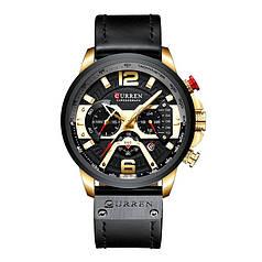 Часы мужские CURREN 8329 Black + Gold наручные кварцевые хронограф
