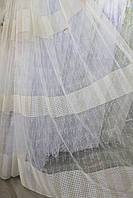 Тюль с вышивкой, цвет кремовый