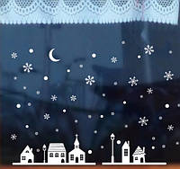 """Новогодние наклейки для оформления окон, витрин """"Снежный Город"""" 35*25см"""