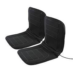 Накидка на два сиденья автомобиля с подогревом Lesko TZ002 Black от прикуривателя 12 В