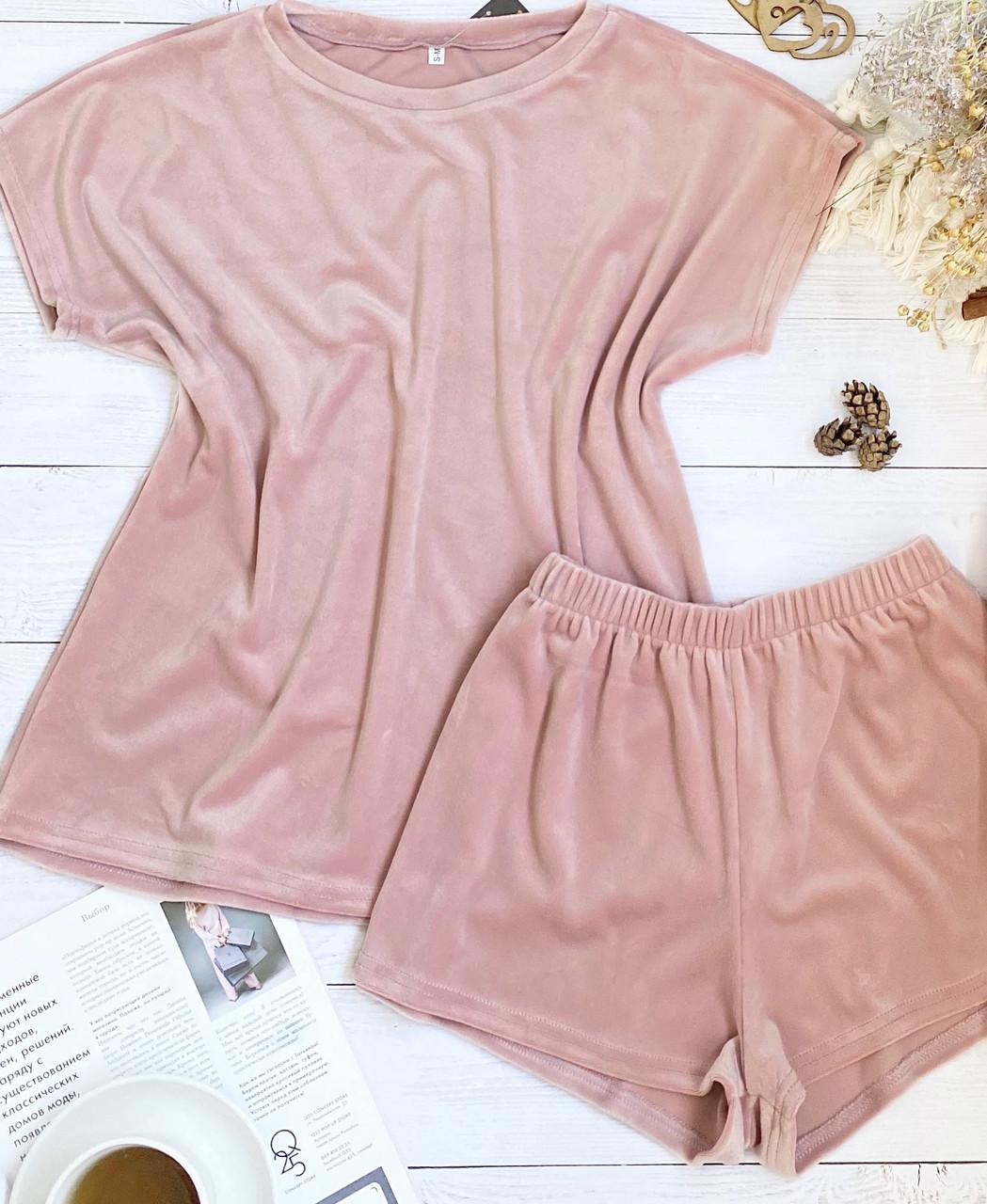 Женский плюшевый комплект футболка и шорты L-XL пудра