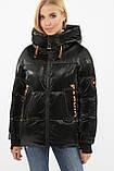 Зимняя куртка женская укороченная чернная с оранжевым 8100, фото 2