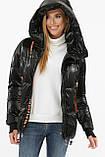 Зимняя куртка женская укороченная чернная с оранжевым 8100, фото 3