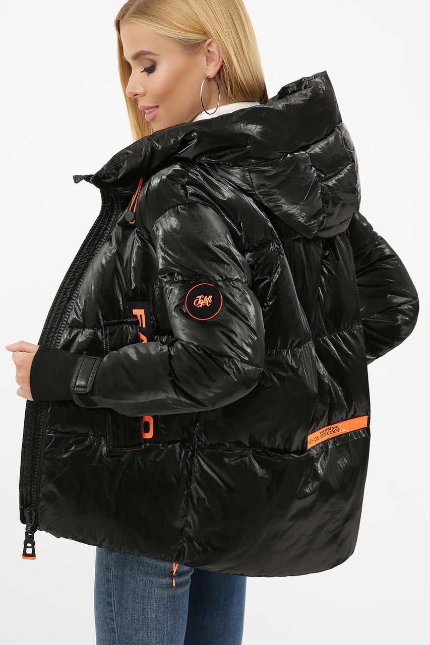 Зимняя куртка женская укороченная чернная с оранжевым 8100