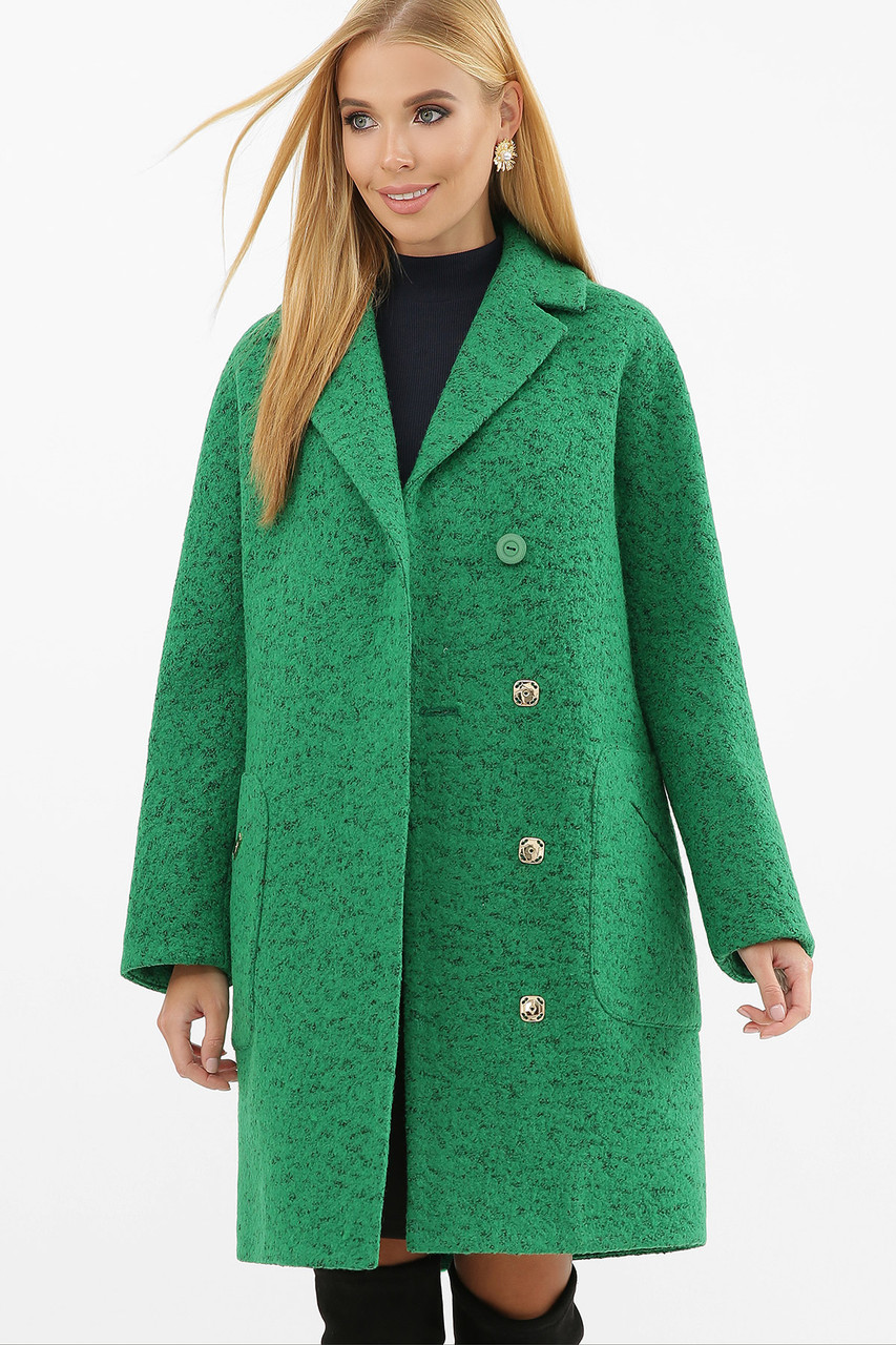 Пальто женское демисезонное букле зеленое MS-191(б)