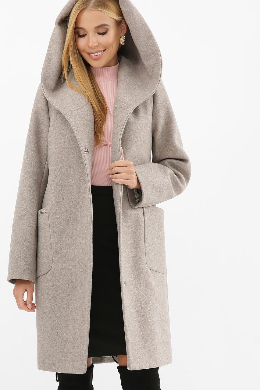 Пальто женское с капюшоном зимнее серое MS-259 Z