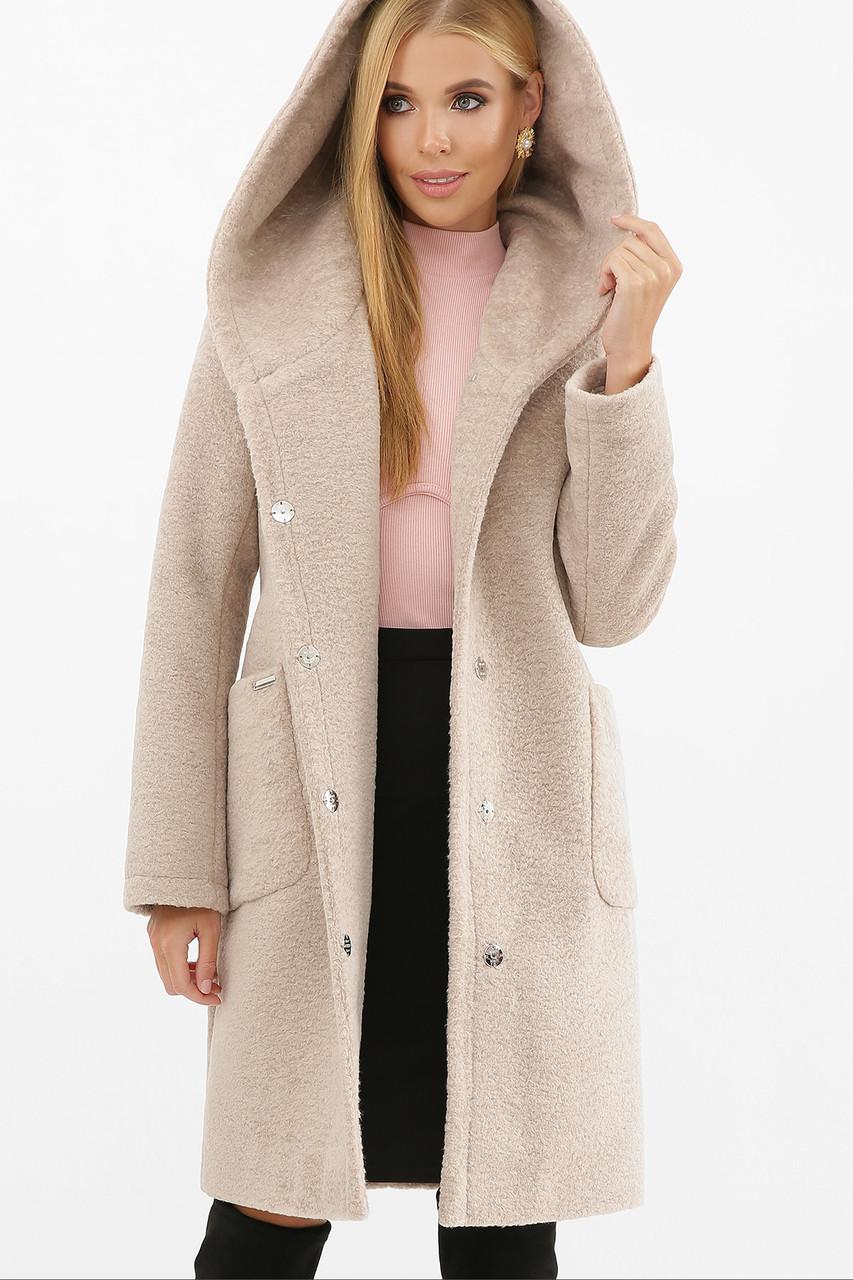 Пальто женское с капюшоном зимнее светло-бежевое MS-259-К Z
