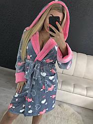 Крутой теплый халат с сердцами и капюшоном