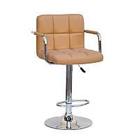 Кресло на круглом основании бежевое с подлокотниками и подножкой для мастеров Arno Arm Bar CH-Base