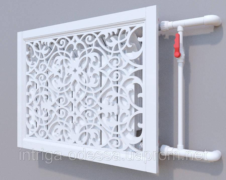 Декоративная решетка на батарею SMARTWOOD | Экран для радиатора | Накладка на батарею 600*600 Решетка, Без отделки, 600*1200