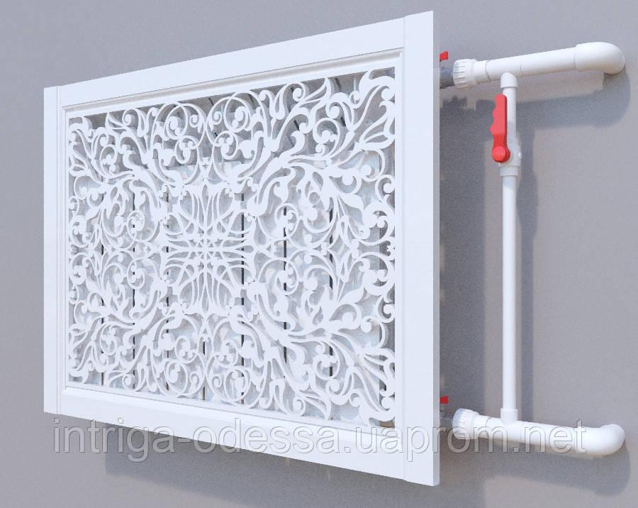 Декоративная решетка на батарею SMARTWOOD | Экран для радиатора | Накладка на батарею 600*600 Решетка, Грунтованная, 600*600
