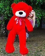 Большой плюшевый медведь 180 см, мягкий мишка подарок для девушки на день рождения, красный