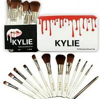 Набор Кисти для макияжа KYLIE белые 12 шт ( кисточки для макияжа )