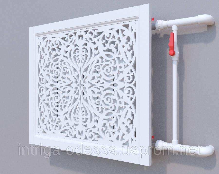 Декоративная решетка на батарею SMARTWOOD   Экран для радиатора   Накладка на батарею 600*600 Решетка, Грунтованная, 600*600
