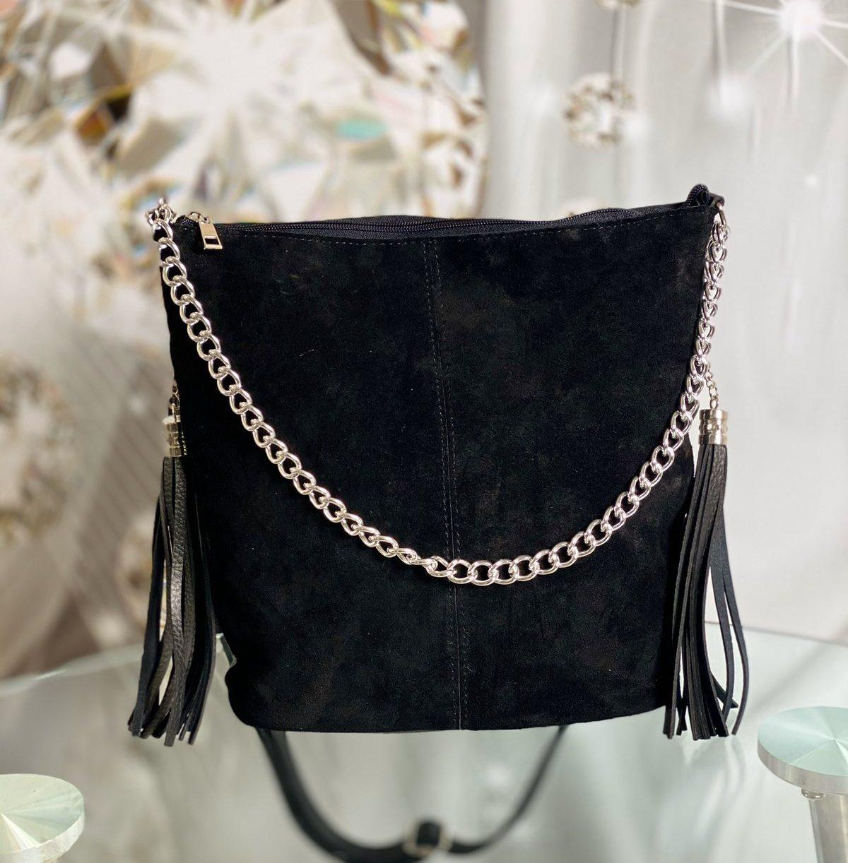 Черная замшевая сумка мешок женская на плечо вместительная замшевая женская натуральная замша+кожзам